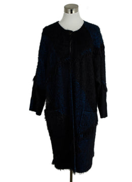 St. John Black Blue Polyamide Wool Frayed Trim Sweater 1