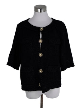 St. John Black Knit Lurex Rhinestones Buttons Jacket 1