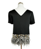 St. John Black Triacetate Beaded Maribou Feathers Top 1