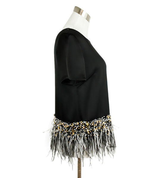 St. John Black Triacetate Beaded Maribou Feathers Top 2