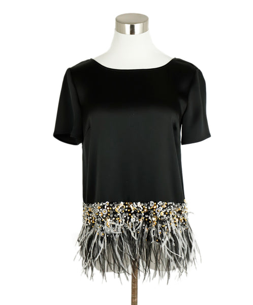St. John Black Triacetate Beaded Maribou Feathers Top 3