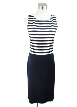 St. John Blue Navy White Knit Dress 1