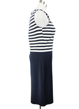 St. John Blue Navy White Knit Dress 2