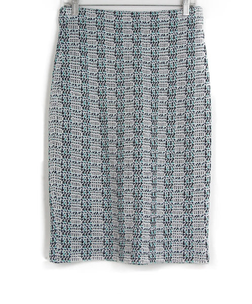 St. John blue navy white teal print skirt 1