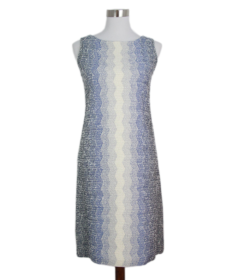 St. John blue white knit dress 1