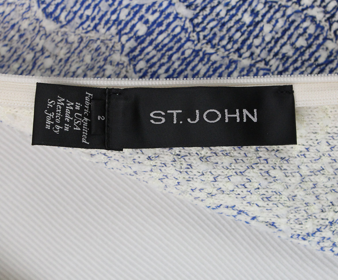 St. John blue white knit dress 4