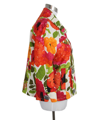 St. John orange pink floral jacket 1