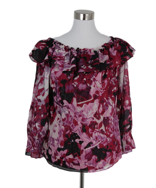 St. John pink black print top 1