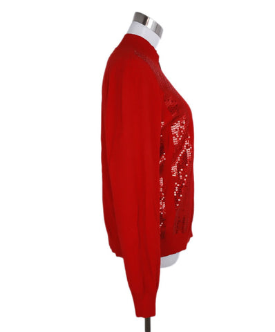 St. John Red Sequins Polyester Sweater Set 1