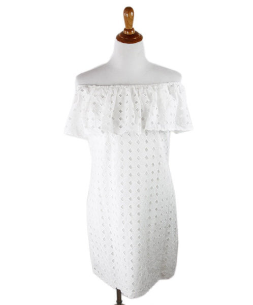 Steffe White Cotton Eyelet Dress Sz 6