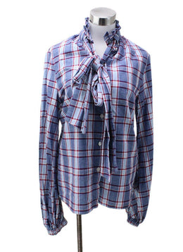 Stella Jean Blue Red Cotton Plaid Linen Top
