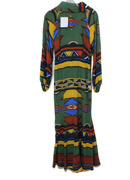 Stella Jean Green Blue Yellow Brown Longsleeve Silk Dress 1