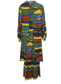 Stella Jean Green Blue Yellow Brown Longsleeve Silk Dress