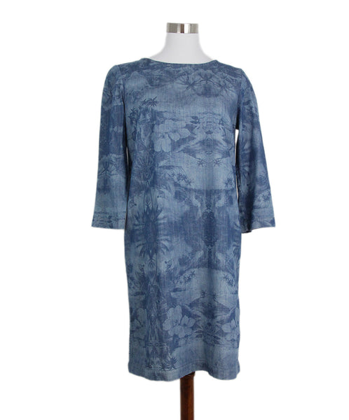 Stella McCartney Blue Denim Printed Long Slv Dress 1