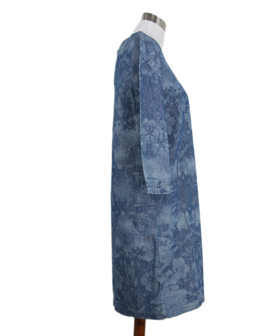 Stella McCartney Blue Denim Printed Long Slv Dress 2