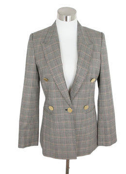 Stella McCartney Neutral Plaid Wool Jacket 1