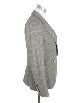 Stella McCartney Neutral Plaid Wool Jacket 2