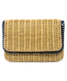 Stella McCartney Neutral Wicker Crossbody Bag with Black Chain Strap 1