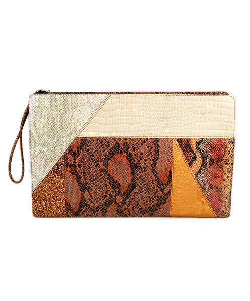 Stella Mccartney Orange Faux Snake Skin Print Handbag