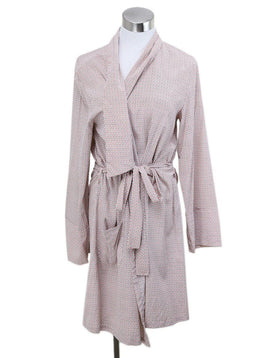 Robe Stella McCartney Pink White Print Silk W/Belt Lingerie
