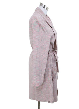Robe Stella McCartney Pink White Print Silk W/Belt Lingerie 1