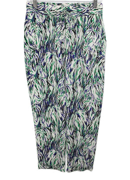 Stella McCartney White Pants with Green, Blue, Black Print 1