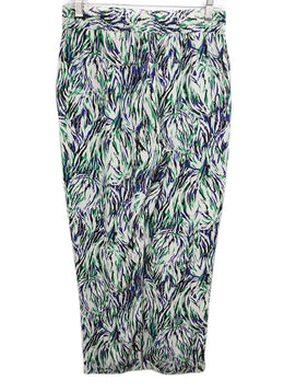 Stella McCartney White Pants with Green, Blue, Black Print 2
