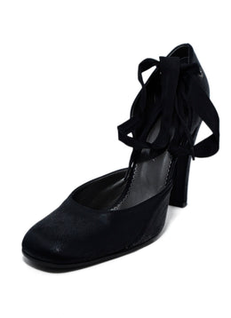 Stella McCartney Black Leather Ribbon Trim Heels 1