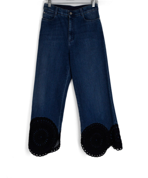 Stella McCartney Blue Denim Black Lace Trim Pants 1