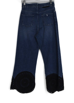 Stella McCartney Blue Denim Black Lace Trim Pants 2