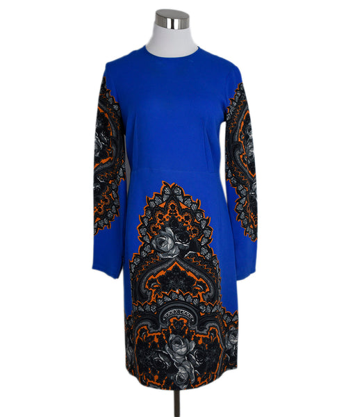 Stella McCartney Blue Grey Orange Print Viscose Dress 1