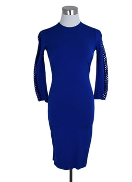 Stella McCartney Blue Viscose Cutwork Longsleeve Dress 1