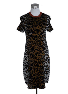 Stella McCartney Brown Black Animal Print Viscose Wool Dress 1