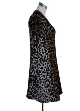 Stella McCartney Brown Black Animal Print Viscose Wool Dress 2