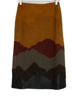 Stella McCartney Brown Burgundy Suede Black Leather Trim Skirt 2