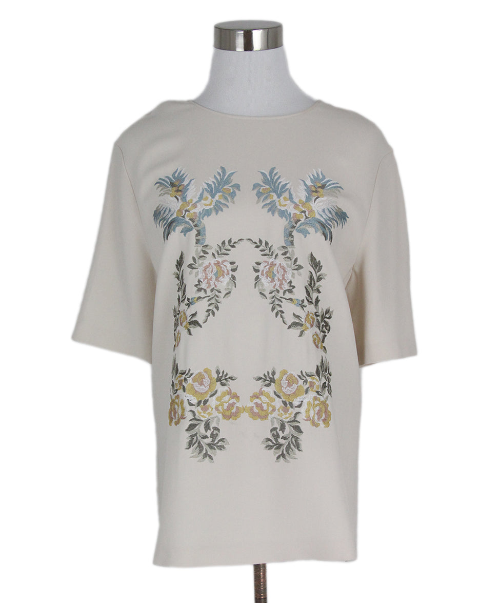 Stella McCartney Cream Floral Embroidery Viscose Top 1