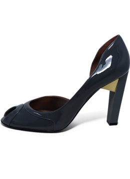 Stella McCartney Grey Patent Leather Gold Detail Heels 2