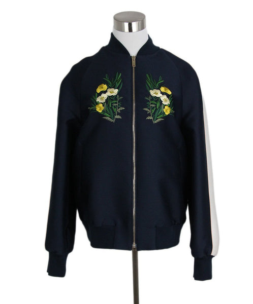 Stella McCartney Navy White Cotton Floral Embroidery Jacket 1