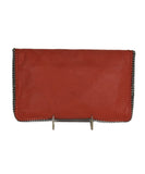 Stella McCartney Orange Vegetarian Material Falabella Fold-Over Clutch Handbag | Stella McCartney