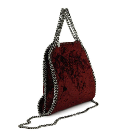 Stella McCartney Falabella Red Burgundy Crushed Velvet Crossbody Handbag 2