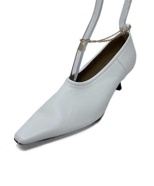 Stella McCartney White Vegan Leather Kitten Heels with Gold Ankle Strap