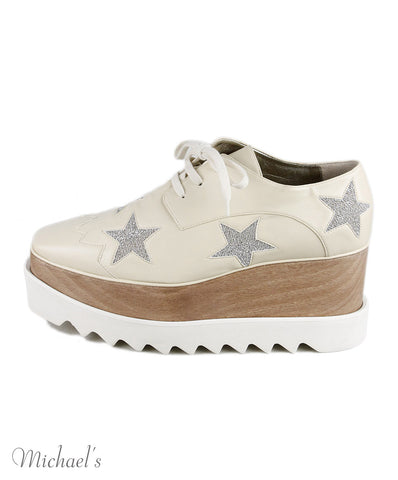Stella McCartney Cream Leather Lace-Up Shoes SZ 37.5