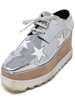 Stella McCartney Silver Vegan Leather Sneakers Sz 38