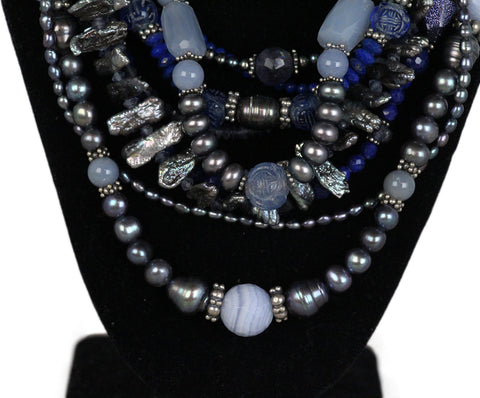 Stephen Dweck Blue multi lapis quartz sterling silver pearl necklace 1
