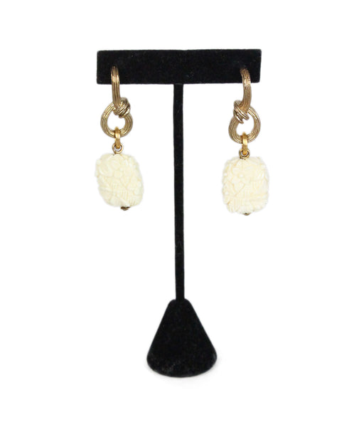 Stephen Dweck Sterling silver gold mother of pearl carved earrings 1