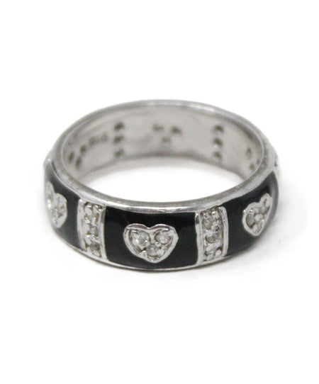 Sterling Silver Diamond 4 Band Cross Over Ring