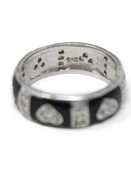 Sterling Silver Black Enamel Diamond Ring