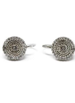 Sterling Silver Diamond Pierced Earrings