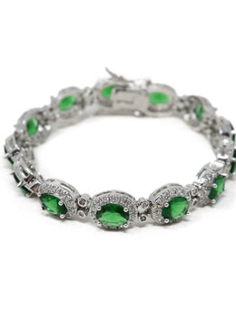 Sterling Silver Cubic Zirconia Green Stone Bracelet with Earrings 2