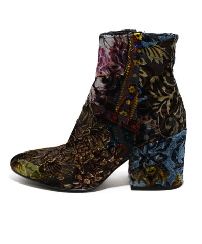 Strategia Green Multi Velvet Booties 1
